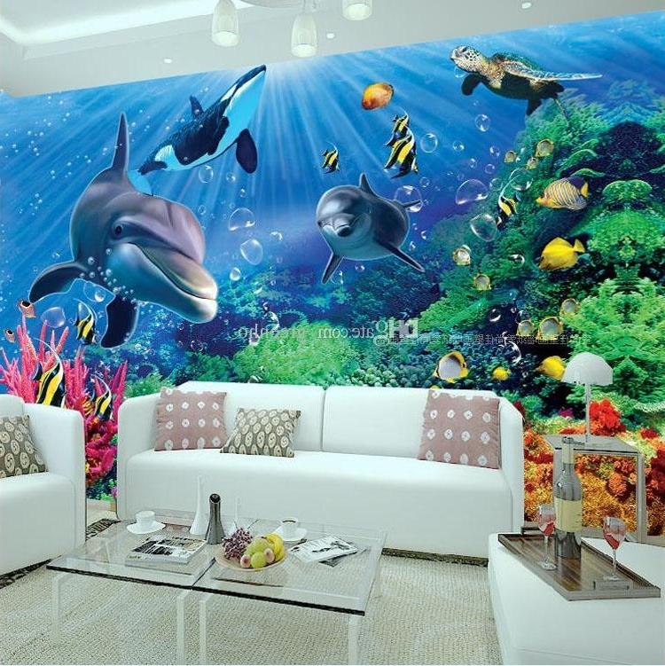 Most Recent 3D Wall Art Wallpaper Inside 3D Wall Mural Underwater World Photo Wallpaper Interior Art (View 11 of 15)