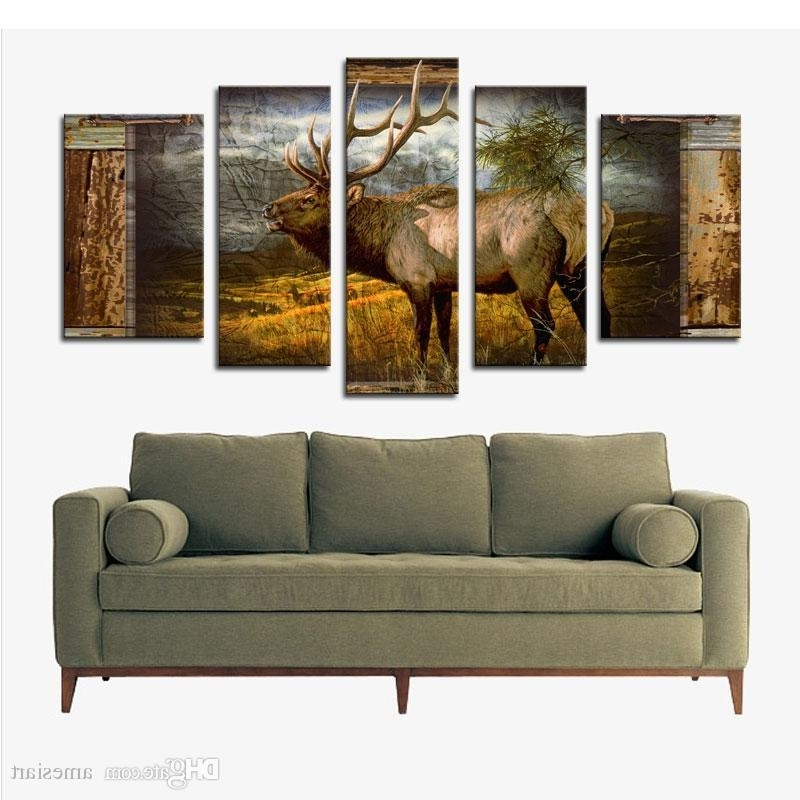 Most Recent 5 Panel Wall Art Deer Buck In Jungle Painting The Picture Print On Within Jungle Canvas Wall Art (View 13 of 15)
