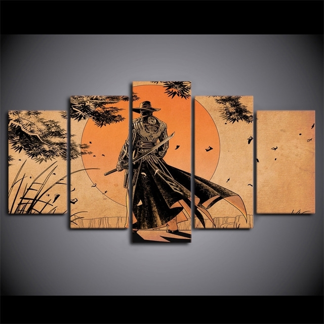 Most Recent 5 Pcs/set Framed Hd Printed Comic Samurai Anime Home Wall Decor With Regard To Samurai Wall Art (View 12 of 15)