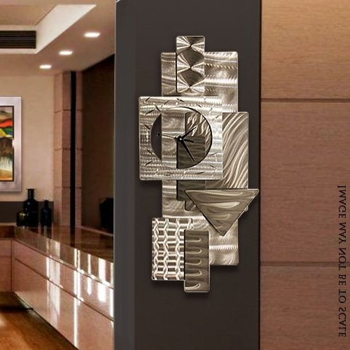 "Most Recent Abstract Metal Wall Art With Clock Inside Contemporary Abstract Metal Wall Art Sculpture Silver ""dynamic (View 12 of 15)"
