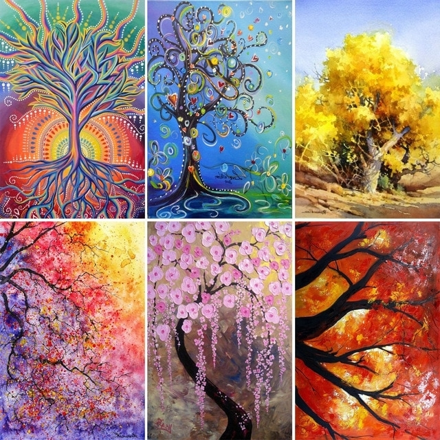 Most Recent Abstract Mosaic Wall Art Pertaining To 5D Diy Diamond Painting Trees Abstract Art Paintings 3D Cross Stitch (View 13 of 15)