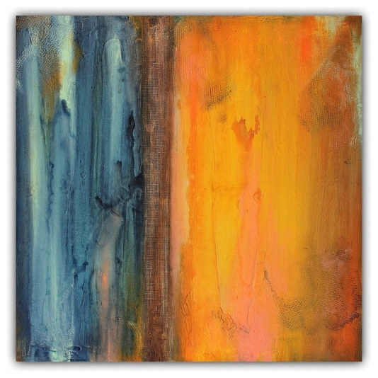 Most Recent Abstract Orange And Blue Wall Art, Textured Painting – Contemporary Inside Abstract Orange Wall Art (View 11 of 15)