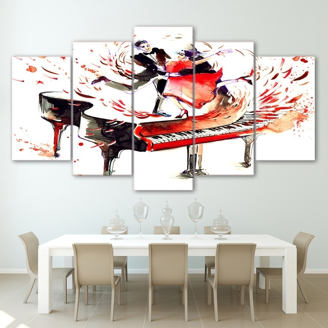 Most Recent Abstract Piano Wall Art For Abstract Piano Painting 5 Panel Couple Dance Waltz Poster Modern (View 9 of 15)