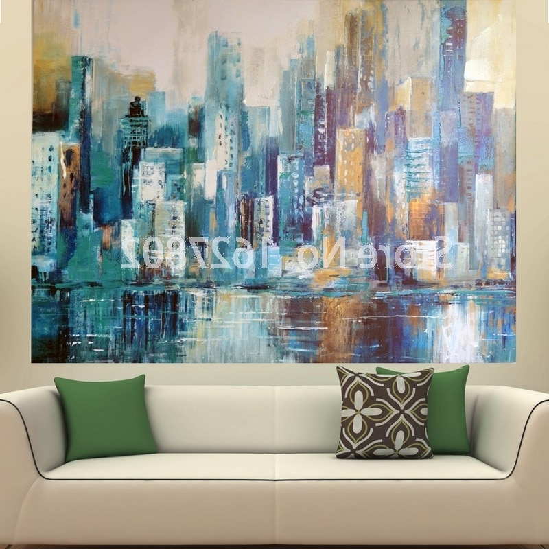 Most Recent Abstract Wall Art Canvas Pertaining To Hand Painted Modern Large Oil European Style Building Wall Art For (View 6 of 15)
