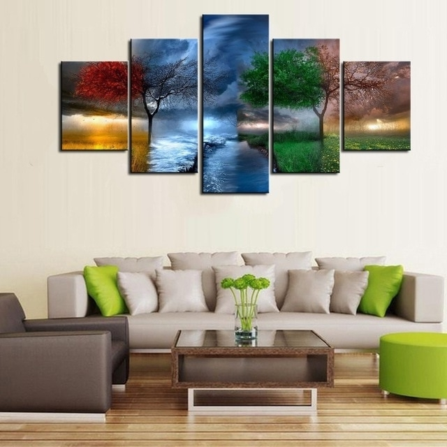 Most Recent Aliexpress : Buy New Hd 5 Piece Modern Decorative Four Seasons In Seasonal Wall Art (View 6 of 15)