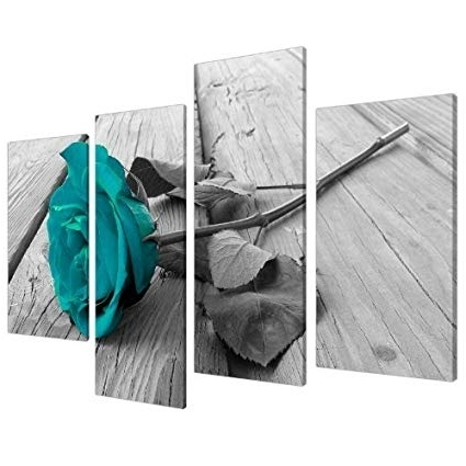 Most Recent Amazon: Large Black White Teal Rose Floral Canvas Wall Art Inside Turquoise And Black Wall Art (View 5 of 15)