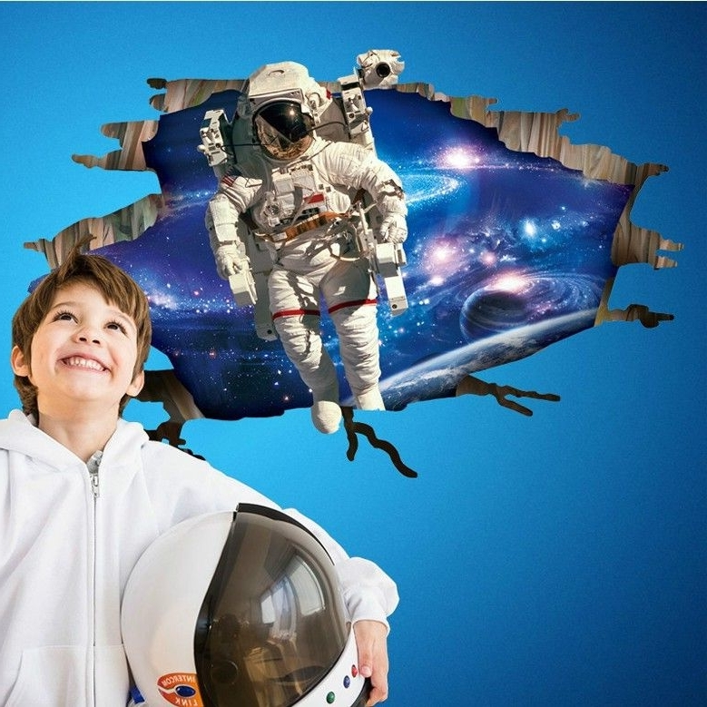 Most Recent Astronaut 3D Wall Art Intended For Astronauts Wall Stickers For Kids Rooms Decals Home Decor (View 10 of 15)
