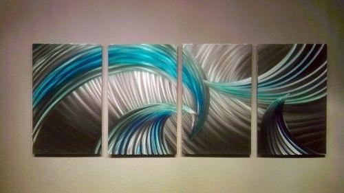 Most Recent Blue Green Abstract Wall Art Regarding Metal Wall Art, Modern Home Decor, Abstract Wall Sculpture (View 7 of 15)