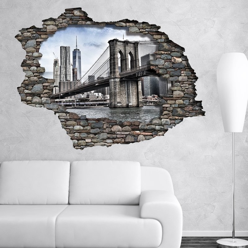 Most Recent Brooklyn Bridge Wall Decals Intended For East Urban Home View Through The 3D Wall Brooklyn Bridge Wall Decal (View 15 of 15)