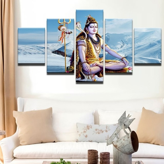Most Recent Canvas Painting Abstract Wall Art Poster Style Wall Picture 5 Panel Within Abstract Wall Art Posters (View 11 of 15)