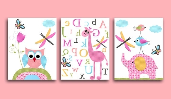 Most Recent Childrens Wall Art Canvas Within Owl Pictures Baby Nursery Wall Art Canvas Prints For, Childrens Wall (View 12 of 15)