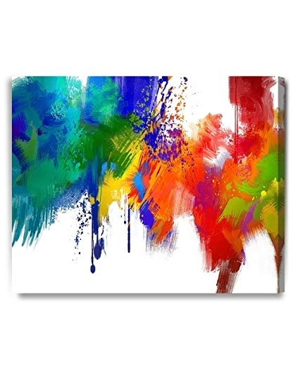 Most Recent Colorful Abstract Wall Art Inside Amazon: Decorarts – Colorful Paint Abstract Wall Art, Giclee (View 7 of 15)