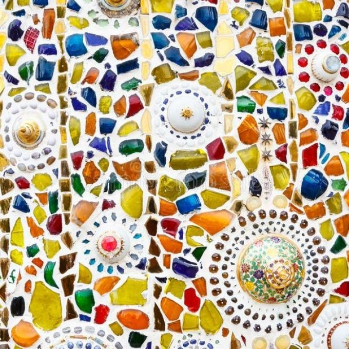 Most Recent Colorful Mosaic Art Abstract Wall Background Stock Photo, Abstract With Abstract Mosaic Art On Wall (View 11 of 15)