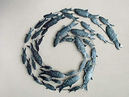 Most Recent Contemporary Silver Fish Shoal Metal Wall Art – Hand Made: Amazon (View 6 of 15)