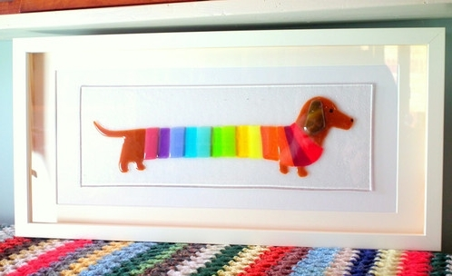 Most Recent Dachshund Wall Art Inside Framed Fused Glass Rainbow Dachshund Art (View 9 of 15)