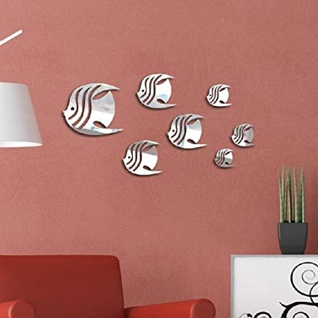 Most Recent Diy Mirror Wall Art For Masterein 7Pcs 3D Fish Wall Stickers Diy Mirror Wall Art Decal (View 12 of 15)
