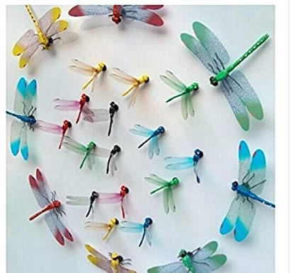 Most Recent Dragonfly 3D Wall Art In Amazon: Amaonm 20Pcs 3D Colorful Dragonfly Vividly Stickers (View 14 of 15)