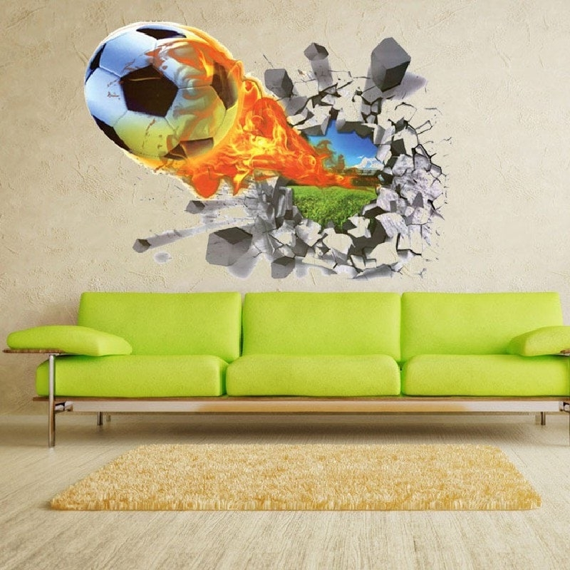 Most Recent Football 3D Wall Art Regarding Wall Stickers (View 14 of 15)