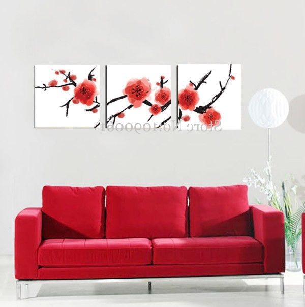 Most Recent Handmade Cherry Blossom Art Flowers Oil Painting Modern Abstract Red With Red Cherry Blossom Wall Art (View 13 of 15)