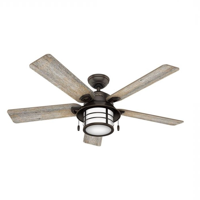 "Most Recent Hunter Key Biscayne 54"" Outdoor Ceiling Fan In Onyx Bengal – Outdoor Inside Outdoor Ceiling Fans With Led Globe (View 8 of 15)"