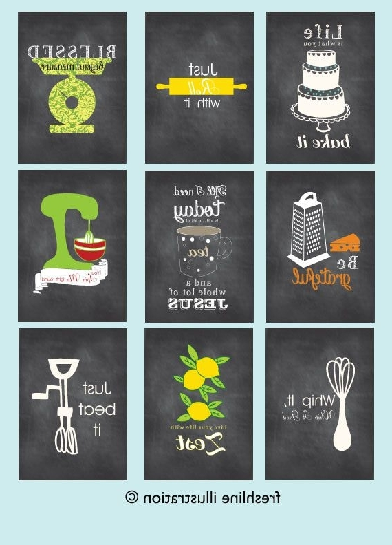 Most Recent Kitchen Wall Art Sets Pertaining To Kitchen Wall Art – Set Of 9 – Art Prints – Funny Kitchen Posters (View 13 of 15)