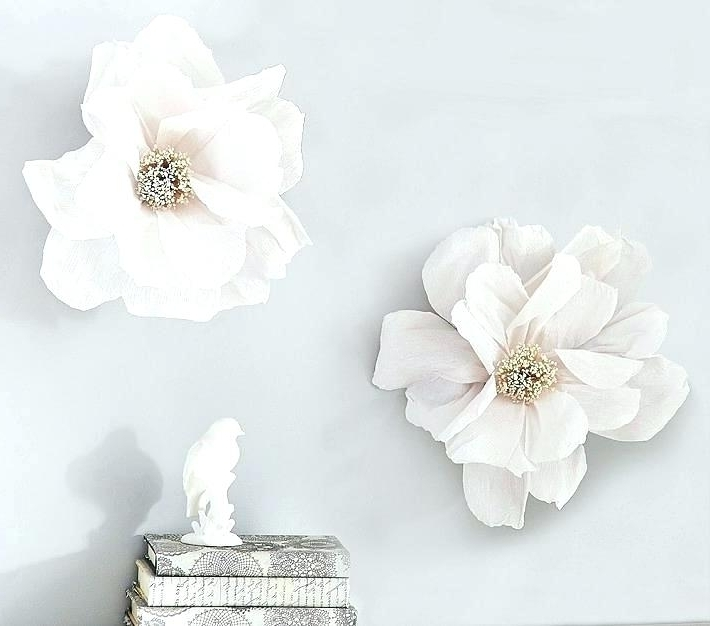 Most Recent Large Ceramic Wall Art Intended For Ceramic Flower Wall Art White Flower Wall Art Large Paper Flowers (View 12 of 15)