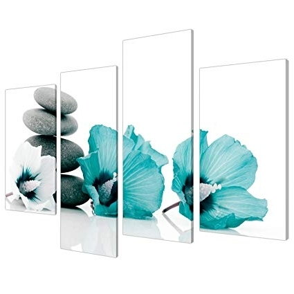 Most Recent Large Teal Wall Art Pertaining To Amazon: Large Teal Grey And White Lily Floral Canvas Wall Art (View 11 of 15)