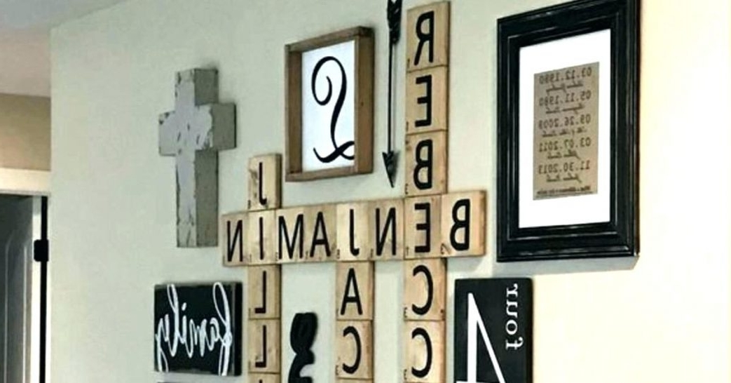 Most Recent Letter Wall Art Scrabble Hanging Letters Outstanding Framed Monogram Regarding Framed Monogram Wall Art (View 13 of 15)