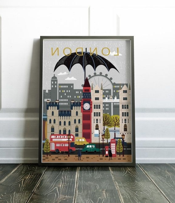 Most Recent London City Poster Travel Print Wall Artnordicdesignhouse (View 10 of 15)