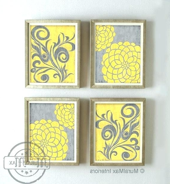 Most Recent Matching Wall Art Set Matching Wall Art Set Yellow And Gray Dahlia Inside Matching Wall Art Set (View 12 of 15)