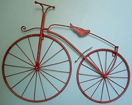 "Most Recent Metal Bicycle Wall Art For Amazon: 25"" Iron Antique Style Bicycle Wall Art Bike Wall Decor (View 10 of 15)"