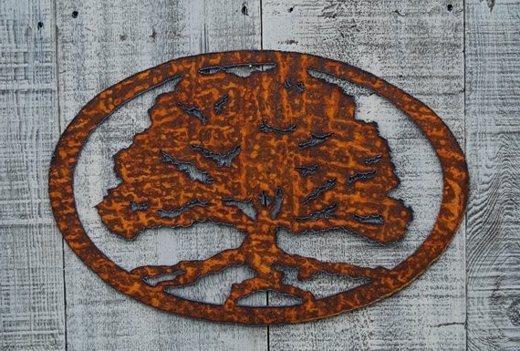 Most Recent Metal Oak Tree Wall Art Throughout Wall Art Ideas Tree Extra Large Metal Contemporary With Oak (View 11 of 15)