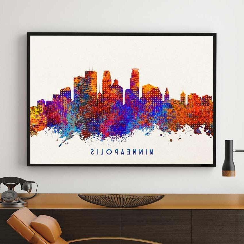 Most Recent Minneapolis Wall Art Regarding Minneapolis Skyline Print, Minneapolis Decor, Watercolor Skyline (View 10 of 15)