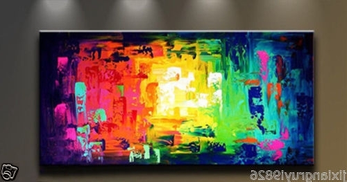 Most Recent Modern Abstract Wall Art Throughout Hand Painted Modern Abstract Canvas Art Oil Painting Wall Decor(No (View 9 of 15)
