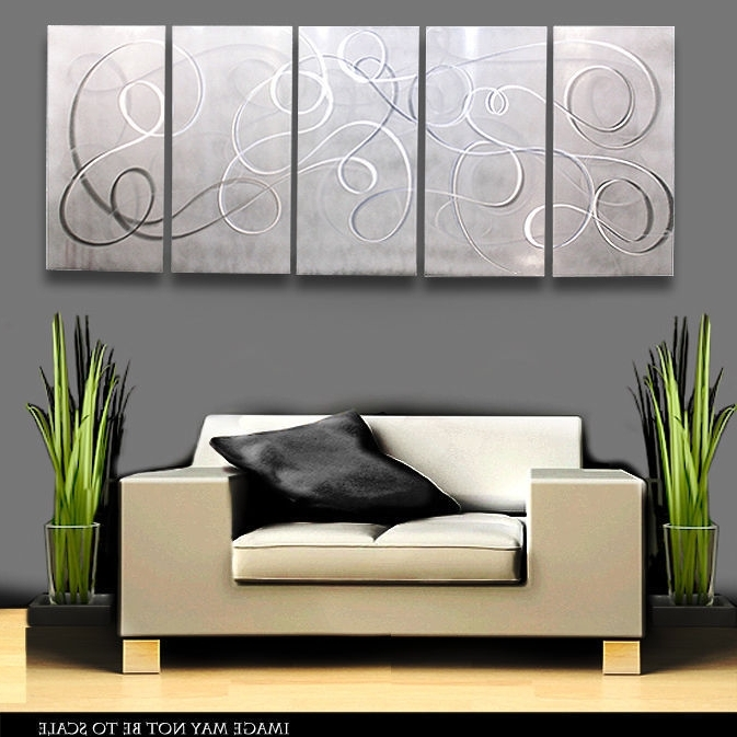 Most Recent Modern Metal Abstract Wall Art Painting Sculpture White Silver Inside Metal Abstract Wall Art (View 11 of 15)