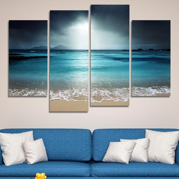 Most Recent Multi Panel Canvas Wall Art In 4 Pcs Beach At Twilight Multi Panel Canvas Wall Art Modern Home (View 7 of 15)