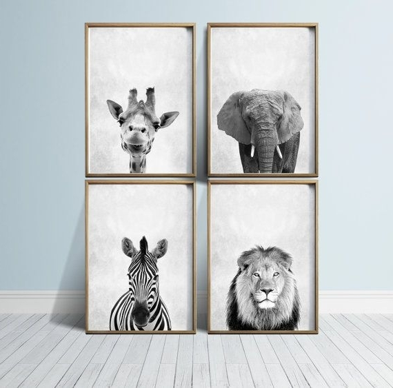 Most Recent Nursery Art Nursery Prints Nursery Wall Art Safari Nursery Animals Within Animal Wall Art (View 4 of 15)