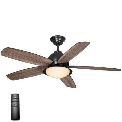 Most Recent Outdoor Ceiling Fans With Light And Remote Inside Gray – Flush Mount – Outdoor – Ceiling Fans – Lighting – The Home Depot (View 9 of 15)