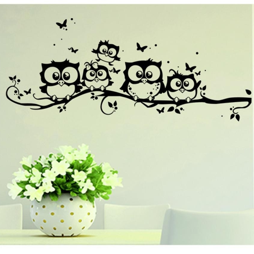 Most Recent Owl Wall Art Stickers Regarding Wall Sticker Tree Animals Bedroom Owl Butterfly Wall Sticker Home (View 7 of 15)