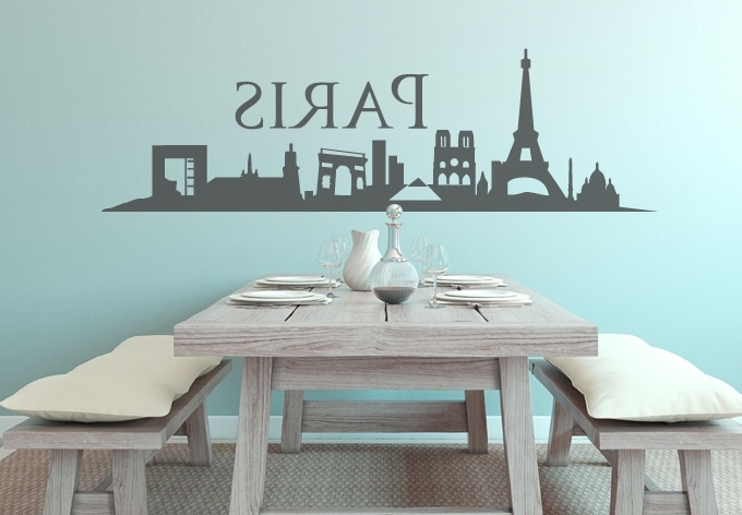 Most Recent Paris Vinyl Wall Art With Regard To Astonishing Paris Decals Wall Art House Interiors Skyline Decal City (View 9 of 15)