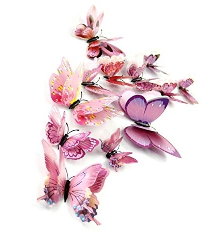 Most Recent Pink Butterfly Wall Art Throughout Amazon: Dagou Mixed Of 12Pcs 3D Pink Butterfly Wall Stickers (View 14 of 15)