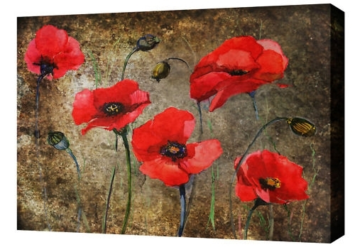 Most Recent Red Poppy Canvas Wall Art For Poppies Print In Red On Brown Mottled Grunge Abstract Background (View 9 of 15)