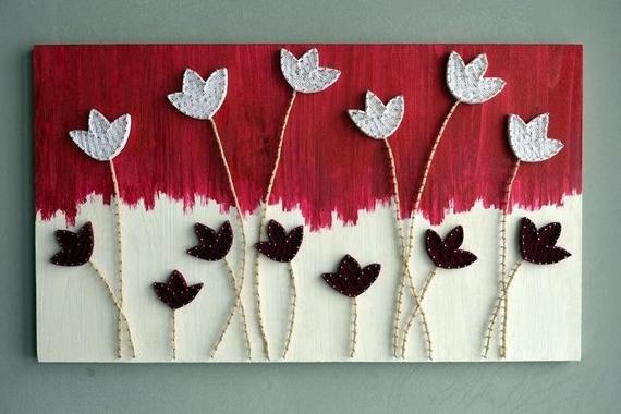 Most Recent String Art Flower 3D Flower Wall Art Woodcraft Floral Wood Art (View 11 of 15)