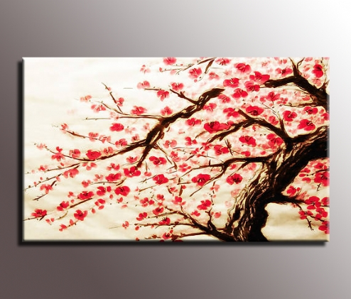 Most Recent Stunning Red Cherry Blossom Painting 34X20 Inch Canvas Wall Art Print Throughout Red Cherry Blossom Wall Art (View 3 of 15)