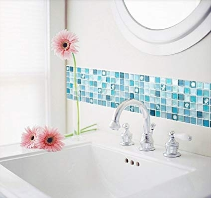 Most Recent Unidesign Beaustile Mosaic 3D Wall Stickers 2 Sheets Home Decor Blue Regarding 3D Wall Art For Bathroom (View 9 of 15)