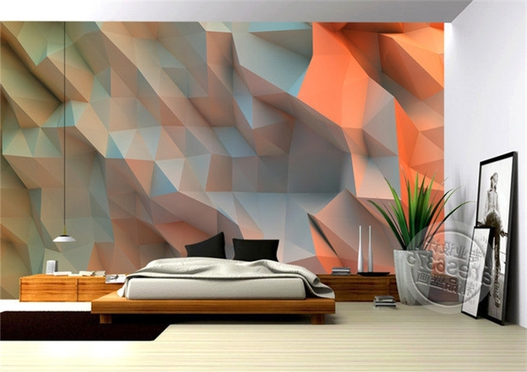 Most Recent Unique 3D Wall Art In 3D Creative Orange Space Wallpaper Bedroom Unique Design Mural Photo (View 4 of 15)