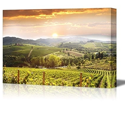 Most Recent Vineyard Wall Art Within Amazon: Wall26 Canvas Prints Wall Art – Chianti Vineyard (View 2 of 15)