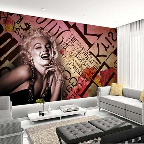 Most Recent Vintage 3D Wall Art Regarding 3D Mural Marilyn Monroe Wallpaper Embossed Wall Art Nostalgic Ktv (View 7 of 15)