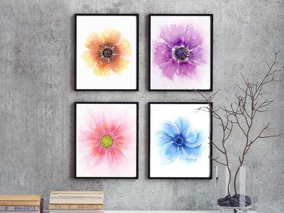 Most Recent Watercolor Flowers Botanical Print Set 4 Piece Wall Art (View 13 of 15)