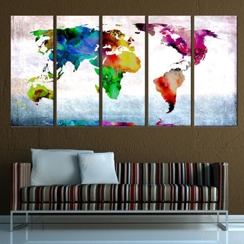 Most Recent World Map Canvas Art Print, Old World Map From Artcanvasshop On Inside Abstract World Map Wall Art (View 7 of 15)